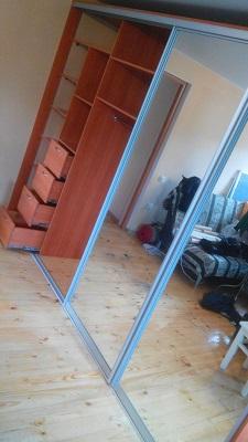 Встроенный зеркальный шкаф купе в зал