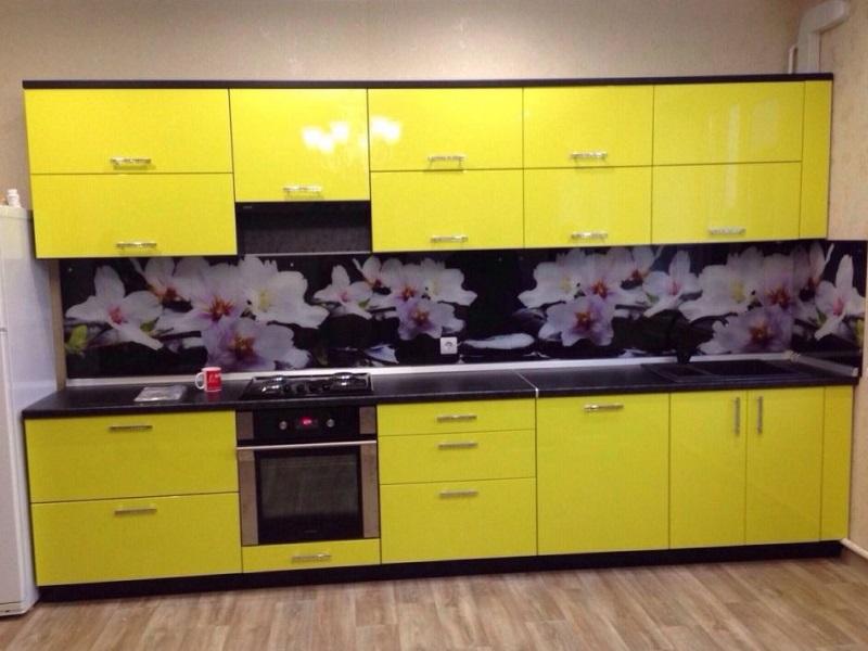 желтая прямая кухня МДФ пленка Делайн