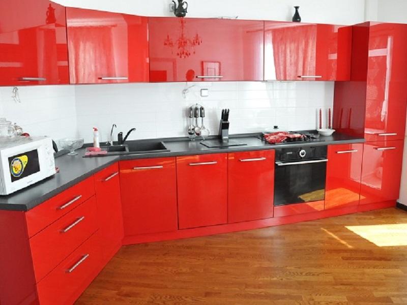 красная кухня МДФ пленка Дженис