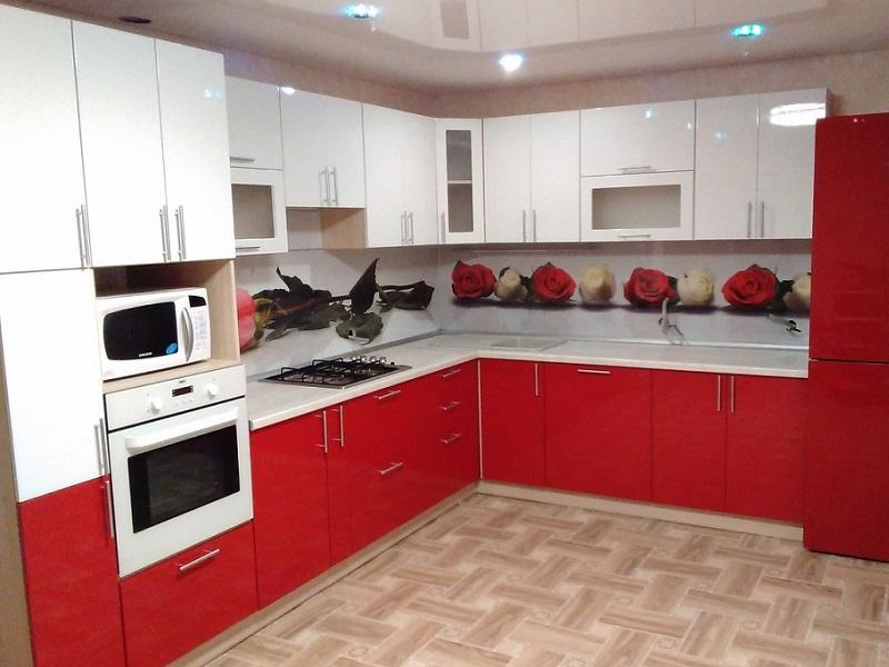 красно-белая кухня из эмали Элайн