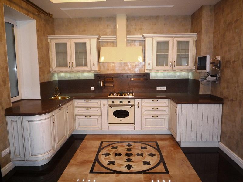 п-образная классическая кухня МДФ в пленке Энисон