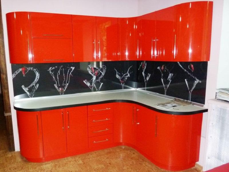 Красная угловая кухня МДФ эмаль Хелен