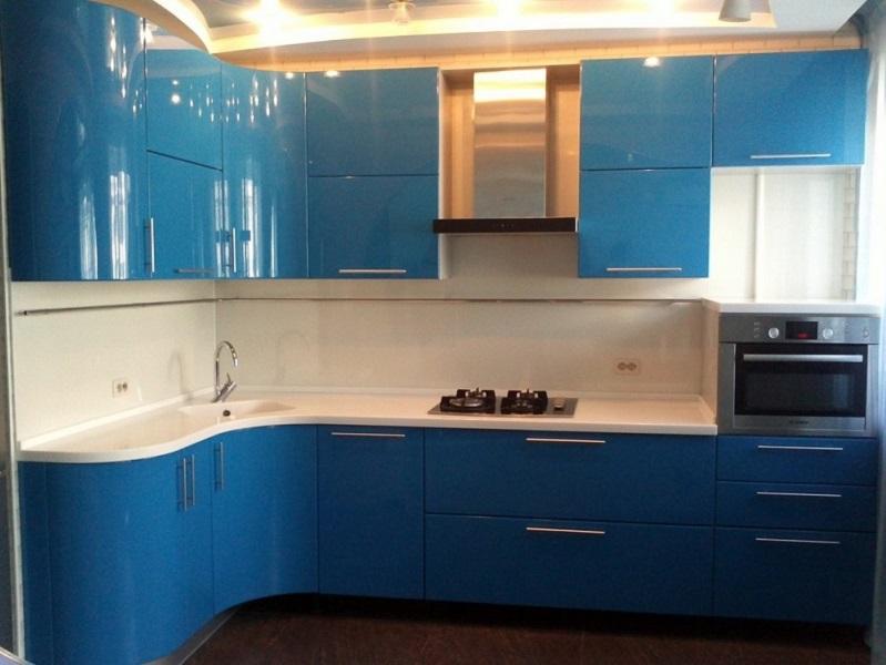 Синяя угловая кухня МДФ эмаль Клер