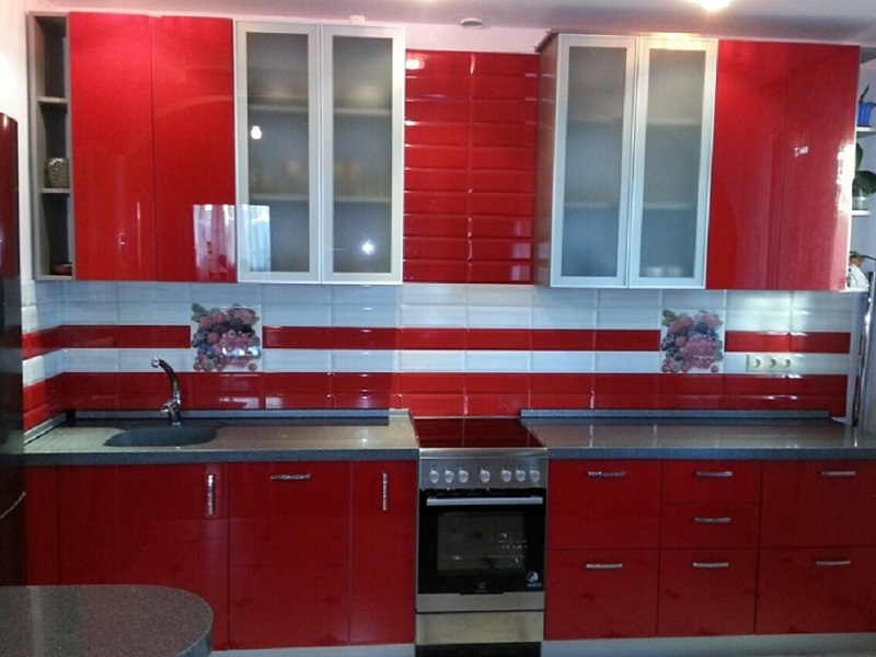 Красная модульная кухня МДФ эмаль Мелиса