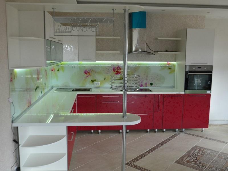 кухня МДФ пленка с барной стойкой Нори