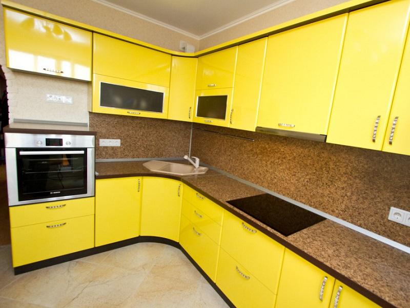 желтая кухня МДФ в пленке Офелея