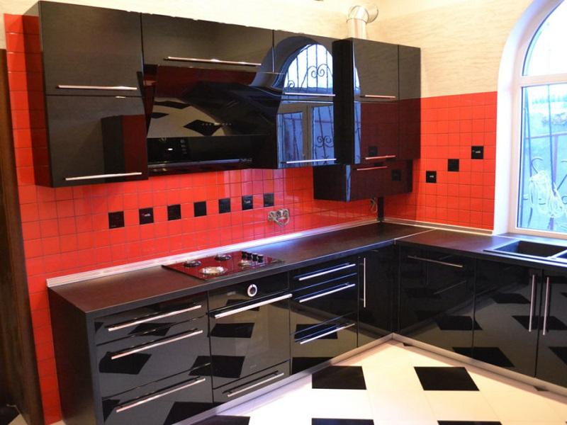 черная кухня из акрила Стоун