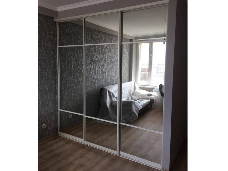 Двери для встроенного шкафа зеркало графит